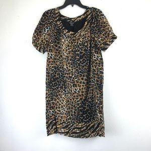 Moda Int'l Leopard Shift Dress Casual Sz L U